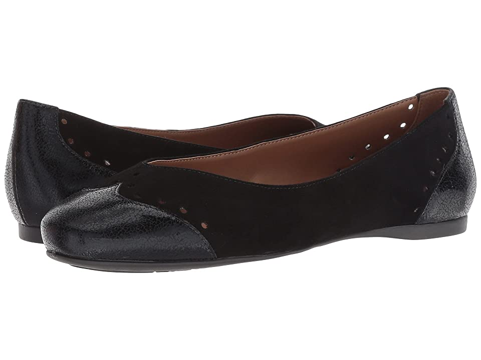 French Sole Civil Flat (Black Suede Metallic) Women