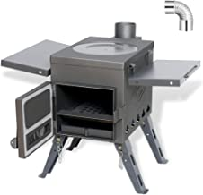 Fltom Camp Tent Stove, Portable Wood Burning Stove for Tent, Shelter, Camping Heating and Cooking, Includes Stainless Wall...