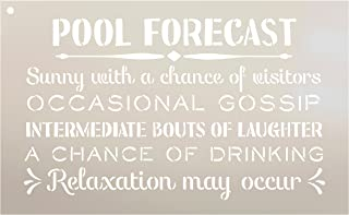Pool Forecast - Sunny with a Chance of Visitors Stencil by StudioR12   Reusable Mylar Template   Use to Paint Wood Signs - Front Door - Entry - Porch - DIY Summer Decor - Select Size (16