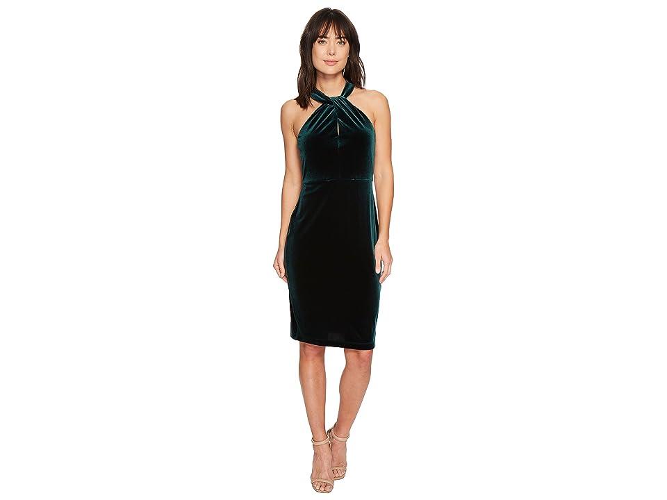 Taylor Crisscross Keyhole Neck Velvet Dress (Hunter Green) Women