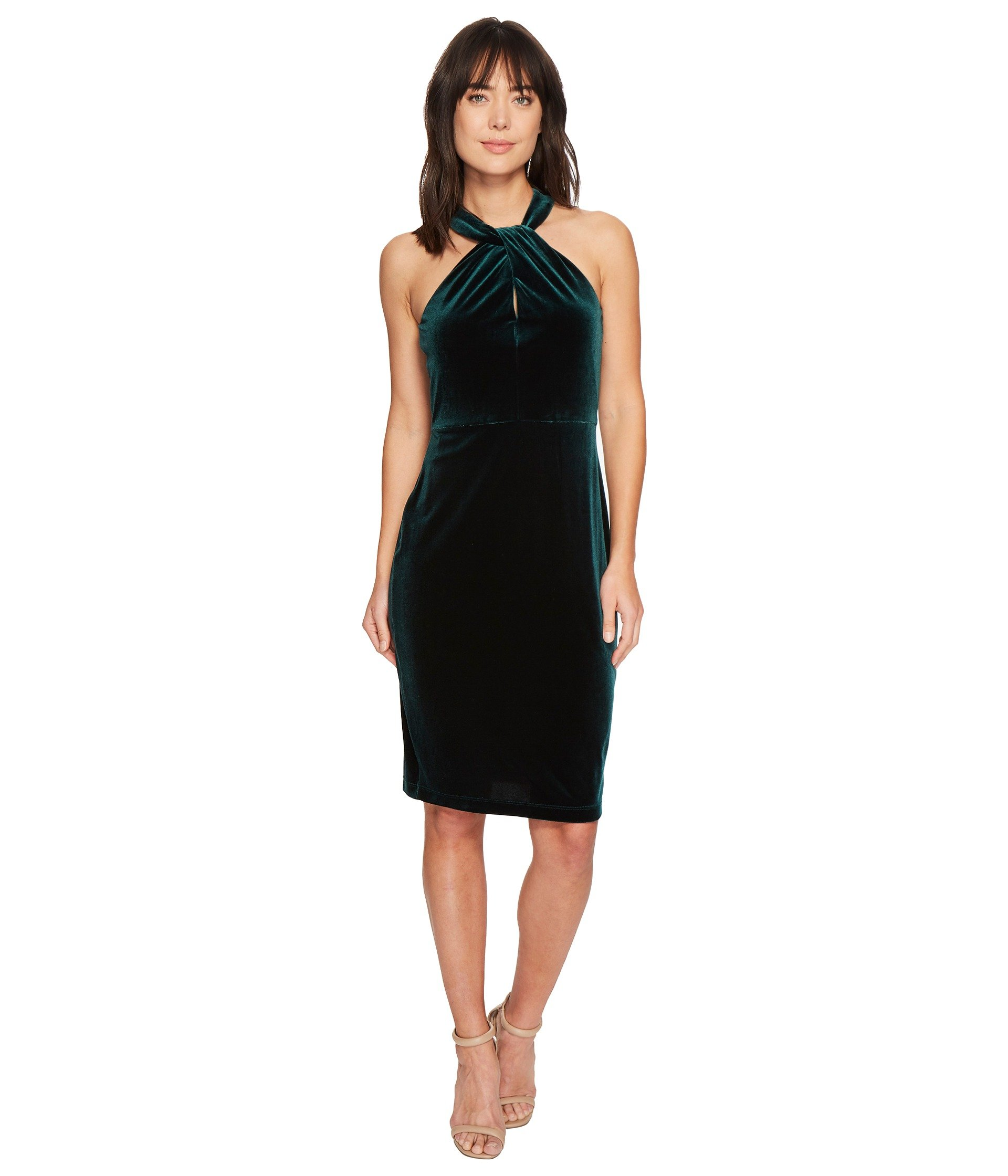 Crisscross Keyhole Neck Velvet Dress