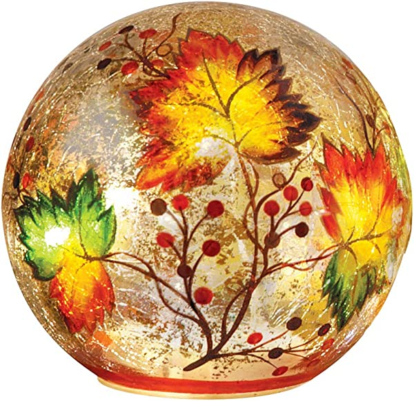 Collections Etc Lighted Fall Leaf Glass Crackle Ball