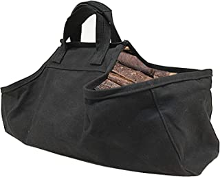 Large Capacity Indoor Fireplace Firewood Storage Bag Tote Log Holders Outdoor Waxed Fire Wood Carrier With Handles Heavy D...