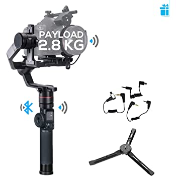FeiyuTech Feiyu AK2000 3-Axis Handheld Gimbal Stabilizer with LCD Touch Panel Compatible with Canon/Panasonic/Sony/Nikon Cameras, MAX Payload 6.17LB, M4 Kernel MCU, WiFi Bluetooth Dual Module