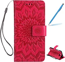Trumpshop Smartphone Protective Case for Huawei Y6 II Compact (5.0-Inch) [Red] 3D Mandala Premium PU Leather Flip Wallet Cover Bookstyle Shockproof [Not compatible with Huawei Y6 and Y6 II]