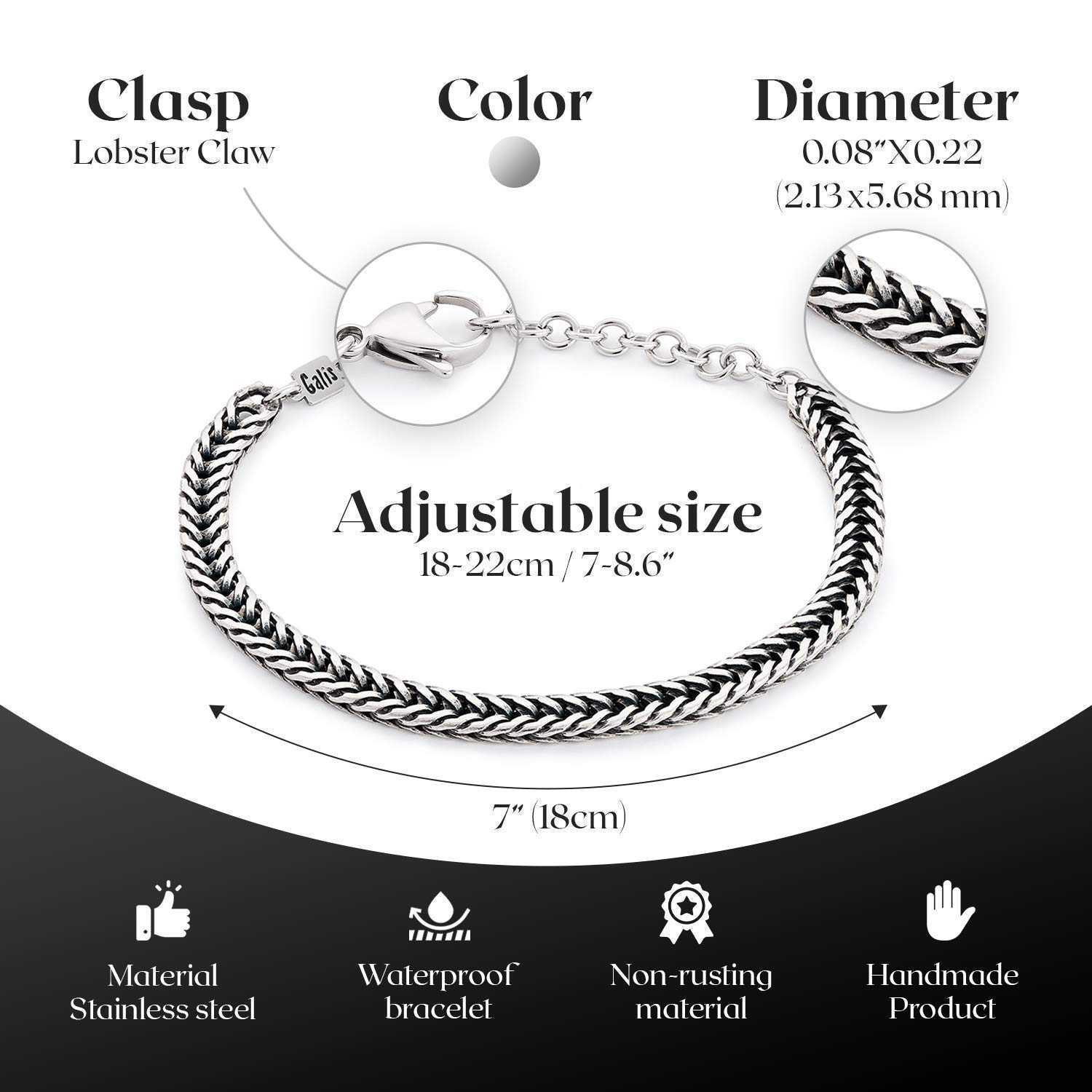 """Handmade Cuff Chain Bracelet For Men Made Of Stainless Steel By Galis Jewelry - Silver Bracelet For Men - Cuff bracelet For men - Jewelry For Men - Fits 7""""-7.75"""" Wirst Sizes"""