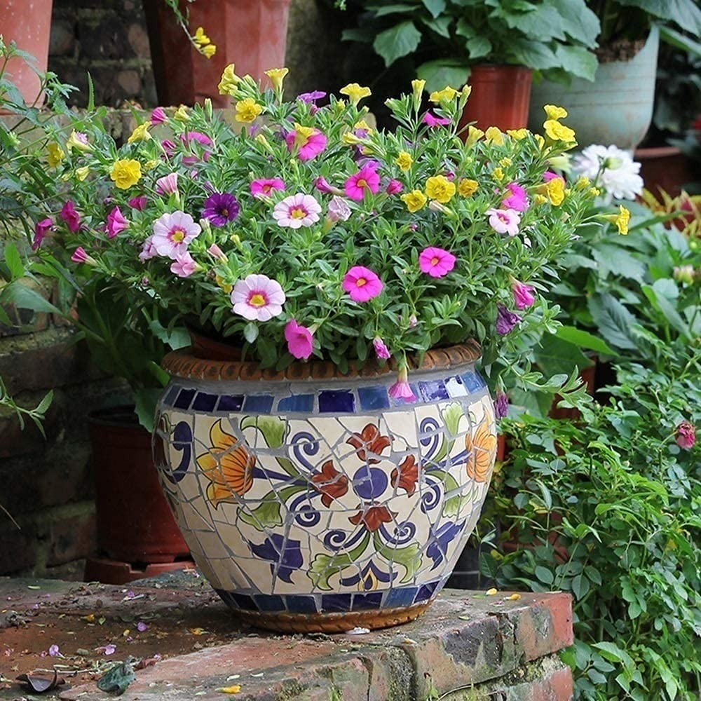 UimimiU Colorful Super sale Max 84% OFF Planter European Retro Po Mosaic Ceramic Flower