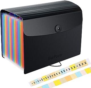 Trieur Extensible 24 Compartiments,A5 Taille/10 x 5,5 Pouces,Chemise Trieur Plastique avec Couvercle/Rangement Bureau Papi...