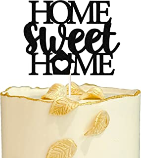 Black Glitter Home Sweet Home Cake Topper,Homecoming Return Party Cake Decor,New House, Housewarming Party Decorations