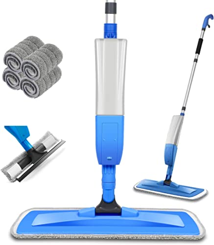 Balais Serpillère, Bellababy Spray Mop avec 4 Tampons de Vadrouille de Rechange, Balai Plat pour la Maison, la Cuisin...