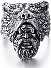 Elfasio Stainless Steel Rings for Men Viking Bear Man Warrior Silver Black Titanium Biker Ring Charm Jewelry
