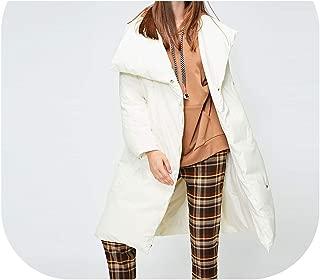 Women's 90% Duck Down Button Oversize High Collar Medium Long Down Jacket