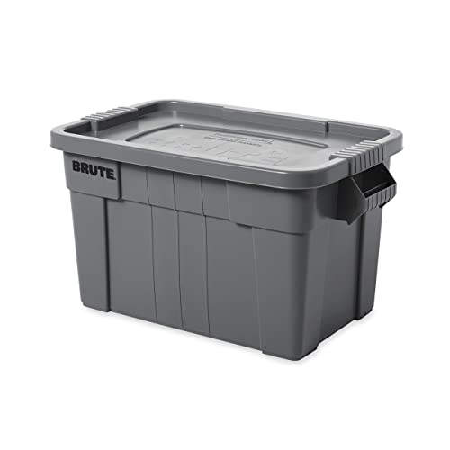 Rubbermaid Commercial Products Brute Tote Storage Container With Lid 20 Gallon Gray