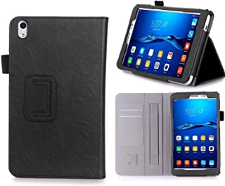 Huawei MediaPad T2 8.0 Pro ケース,【ELTD】Huawei MediaPad T2 8.0 Pro カバー PUレザーケースマグネット 角度調整スタンド機能 タッチペンホルダー ハンドストラップ付 熱処理カバー Huawei MediaPad T2 8.0 Pro ケース case for Huawei MediaPad T2 8.0 Pro 開閉式 超薄型 最軽量 全面保護型(ブラック)