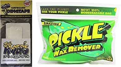 Joe Roper's Surfboard Repair Pickle The Wax Remover w/Wax Comb and 1 pack Surfboard Repair Quick Fix Tape by
