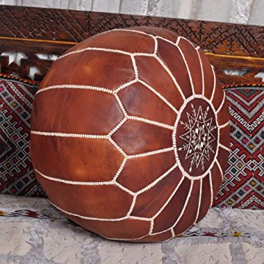 Moroccan Leather Pouf - Handmade Leather Pouffe - Luxury Pouf - Ottoman Footstool Hassock - 100% Real Natural Goat Leather -