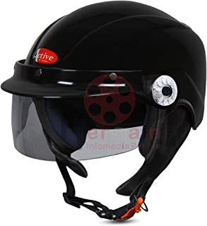 ACTIVE SOGO BIKE AND SCOOTY HALF FACE HELMET FOR MEN AND WOMEN (Medium, BLACK)