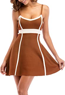 SZIVYSHI Sexy Ohne Arm ärmelloser Spaghettiträger Kontrastfarbe Blockfarben Hohe Taille Empire Taille Mini Minikleid Ausgestellte A-Linie A-Linien Trägerkleid Kleid