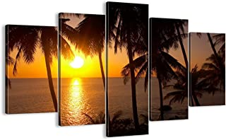 Palm tree Modern Landscape Painting 5 piece canvas Multi Panel Wall Art,Sunset Ocean HD Prints Pictures Giclee Artwork for Living Room Home Decor Wooden Framed Stretched Ready to Hang(60''Wx40''H)