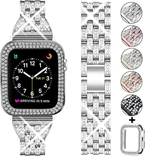 DSYTOM Compatible Apple Watch Band 38mm 40mm 42mm 44mm with Case Women,Slim Rhinestone Metal Jewelry Wristband Strap with Bling PC Protective Case Replacement for iWatch Series 5 4 3 2 1(Silver)