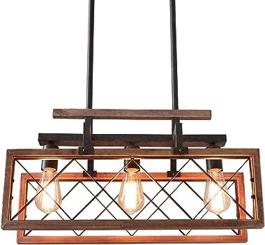 Giluta Rustic Wood Chandelier Rectangle Kitchen Farmhouse Chandelier Dining Room Island Pendant Light Hanging Ceiling Light F