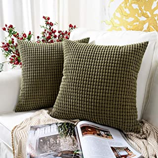 MERNETTE Pack of 2, Corduroy Soft Decorative Square Throw Pillow Cover Cushion Covers..