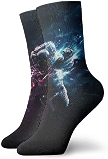tyui7, Calcetines de compresión antideslizantes de astronauta galáctico Calcetines deportivos de 30 cm para hombres, mujeres y niños