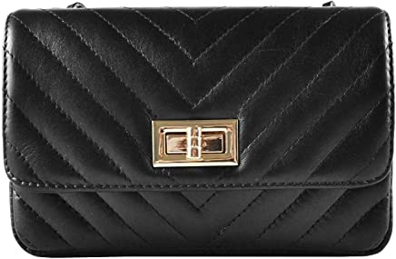 2fb09a9cff SINDY Italian quilted cross body shoulder clutch purse metal and leather  chain soft smooth chevron quilted