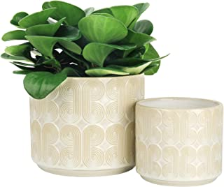 LA JOLIE MUSE Ceramic Planter Set of 2 - 6.6 Inch Greece Style Embossed Flower Pot with Drain Hole for Indoor, with Classi...