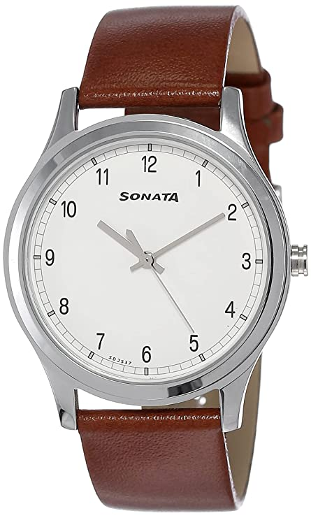Sonata Analog White Dial Men's Watch 7135SL03 Wrist Watches