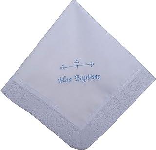 Pañuelo bautizo bordado en frances letras azules 35x35 cm