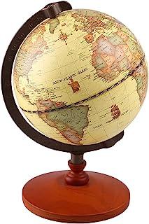 TTKTK Vintage World Globe Antique Decorative Desktop Globe Rotating Earth Geography Globe Wooden Base Educational Globe Wedding Gift with Magnifying Glass