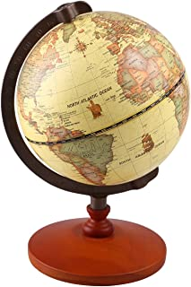 TTKTK Mini Vintage World Globe Antique Decorative Desktop Globe Rotating Earth Geography Globe Wooden Base Educational Globe Wedding Gift with Magnifying Glass