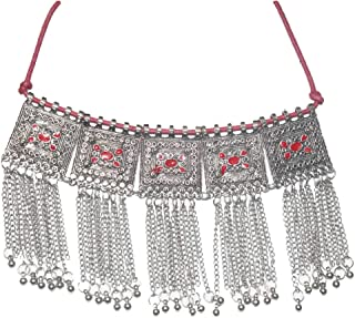MUREN Beautiful Silver Toned Red Stone Engraved Necklace with Ghungroo