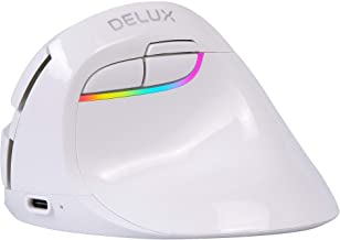 DELUX Wireless Small Vertical Mouse, Type-C Rechargeable Dual Mode Silent Ergonomic Mice with BT 4.0 and USB Nano Receive...