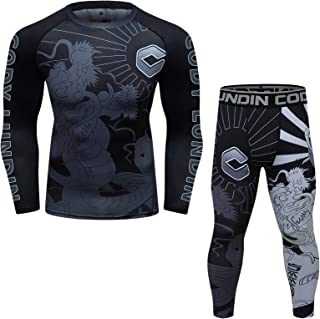 Fitness Full sublimations Suit Pants and Long Sleeve Shirt Breathless Gym Bottoming 2-Piece for Men's Set (Light Grey, XX-...
