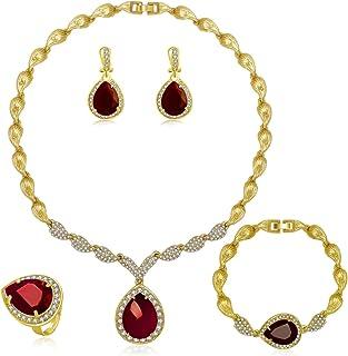 MOOCHI Women Gold Plated Green/Red Cubic Zirconia Teardrop Pendant Rhinestone Jewelry Set Necklace Earrings Bracelet Ring ...