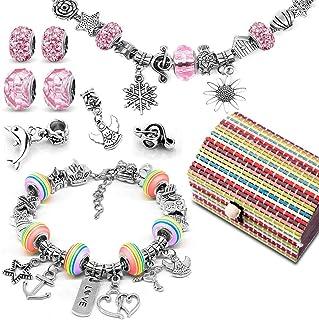 Loisirs Creatifs Cadeau Fille 8 à 12 ans, Kit de fabrication de bracelet avec Pendentifs Charme Chaînes Perles Plaqué Arge...