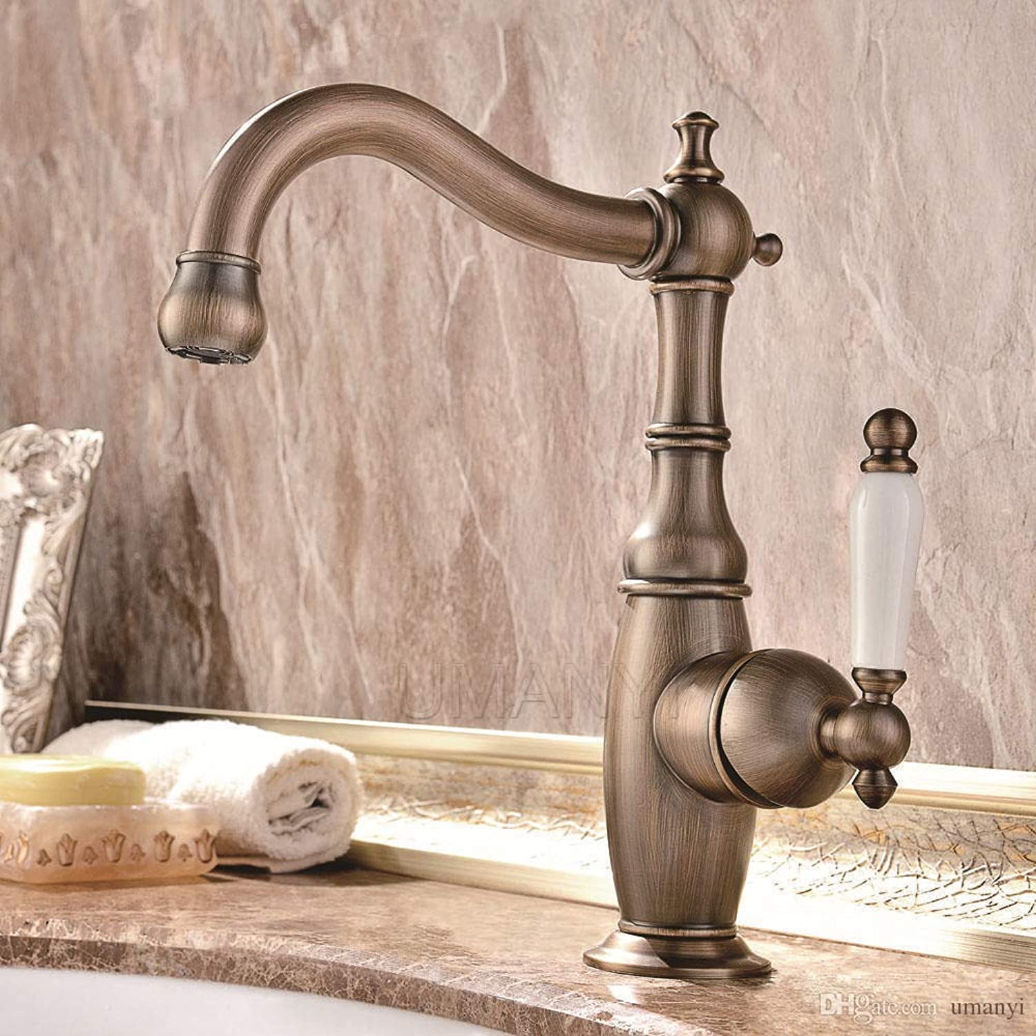 Yingsssq 360 redatable Spout Bathroom Basin Faucets Antique Brass Brushed Bronze Single Handle Deck Mounted Hot Cold Mixer Toilet Sink Taps Abmpl031 (color   -, Size   -)