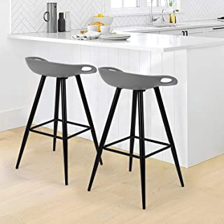 Set of 2 Bar Stools,Kitchen Counter Bar Breakfast Bar Chairs,Modern Minimalist Loft Style High Stools,Seat Height 27.6 Inches,with Low Backrest & Footrest,for Kitchen Island,Counter,PP Black & Gray