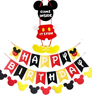 Mickey Inspired Mouse Party Supplies Banner Door Hanger Kit, Happy Birthday Banner Garland and Welcome Door Hanger Kit for Kids Birthday Baby Shower Mickey Mouses Theme Party Supplies