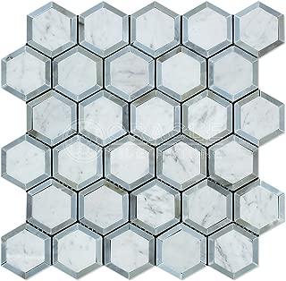 Carrara White Italian (Bianco Carrara) Marble Vortex Hexagon with Blue & Gray Strips, Polished