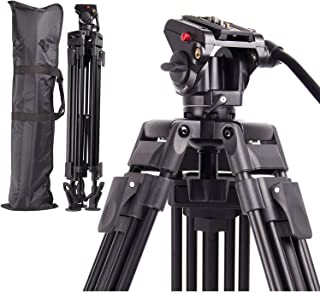 Regetek Professional Video Camera Tripod System, 65 Inch Heavy Duty Aluminum Adjustable Tripod Stand with Fluid Pan Head and Carry Bag for for Canon Nikon DV Camcorder DSLR Photo Studio