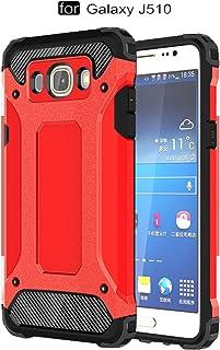 pinlu® Funda para Samsung Galaxy J5 (2016 Version, 5.2 Pulgada) J510 Doble Capa Híbrida Armadura Silicona TPU + PC Case Duradero Protección Anti-Rasguño Shock-Absorción Diseño Rojo