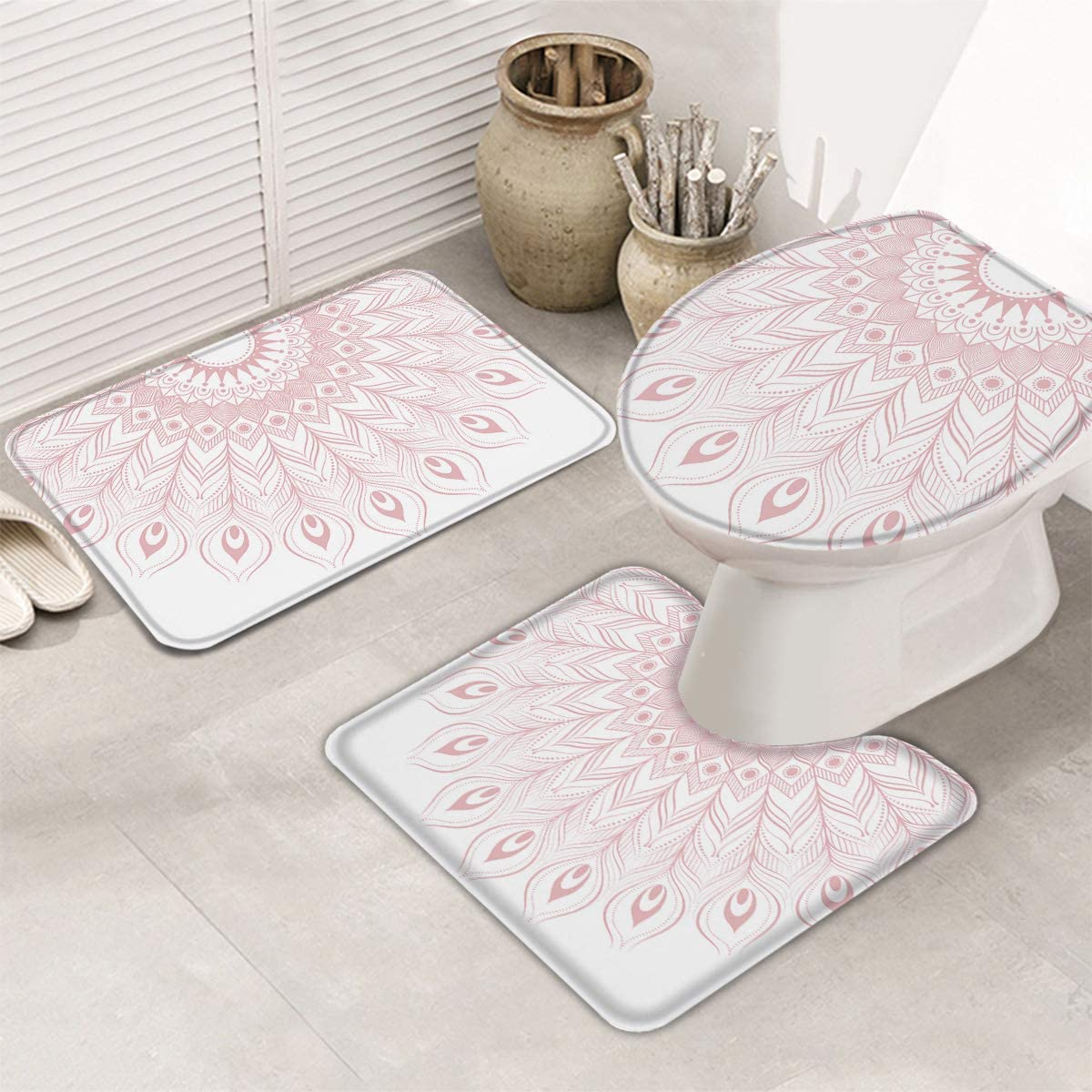 Fangship 3 New arrival Piece Bathroom Rugs Set Bath Mats Limited Special Price Sl Non for