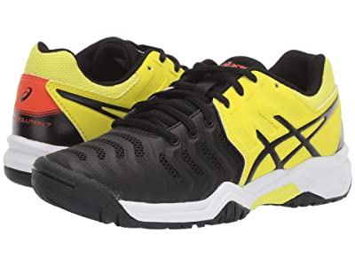 ASICS Kids GEL-Resolution(r) 7 GS Tennis (Little Kid/Big Kid) (Black/Sour Yuzu) Boys Shoes