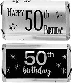 Black and Silver 50th Birthday Mini Candy Bar Wrappers, Shiny Foil - 45 Stickers