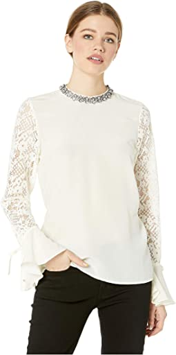 Silk Mock Neck Top