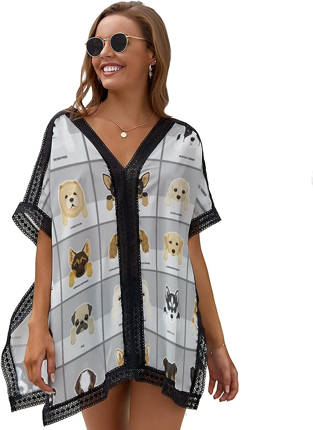 llzlhz Women's V-Neck Beach Cover up Loose Swimsuit Bohemian Sleeve Coverups One Size
