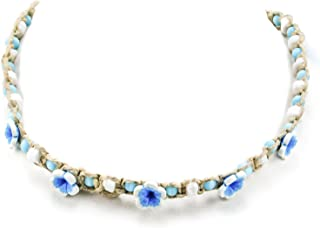 Hemp Choker Necklace with Shells Blue Cats Eye Beads and Blue 3D Fimo Flowers